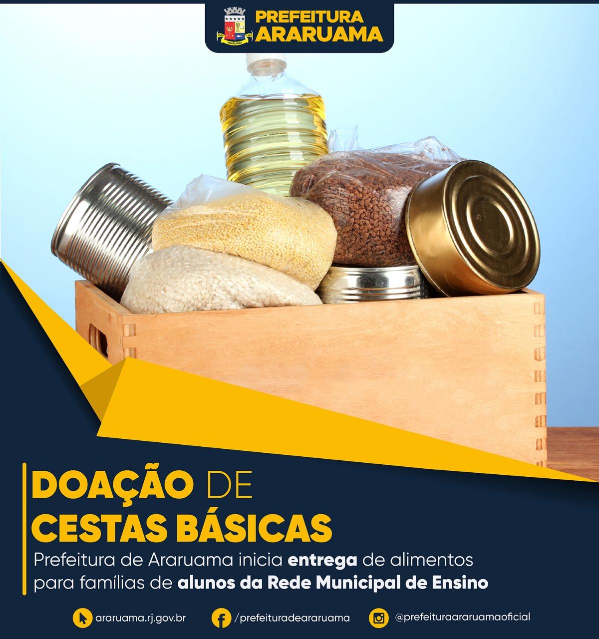 Araruama continua na terça-feira (14) a entrega de cestas básicas para famílias de alunos da rede municipal