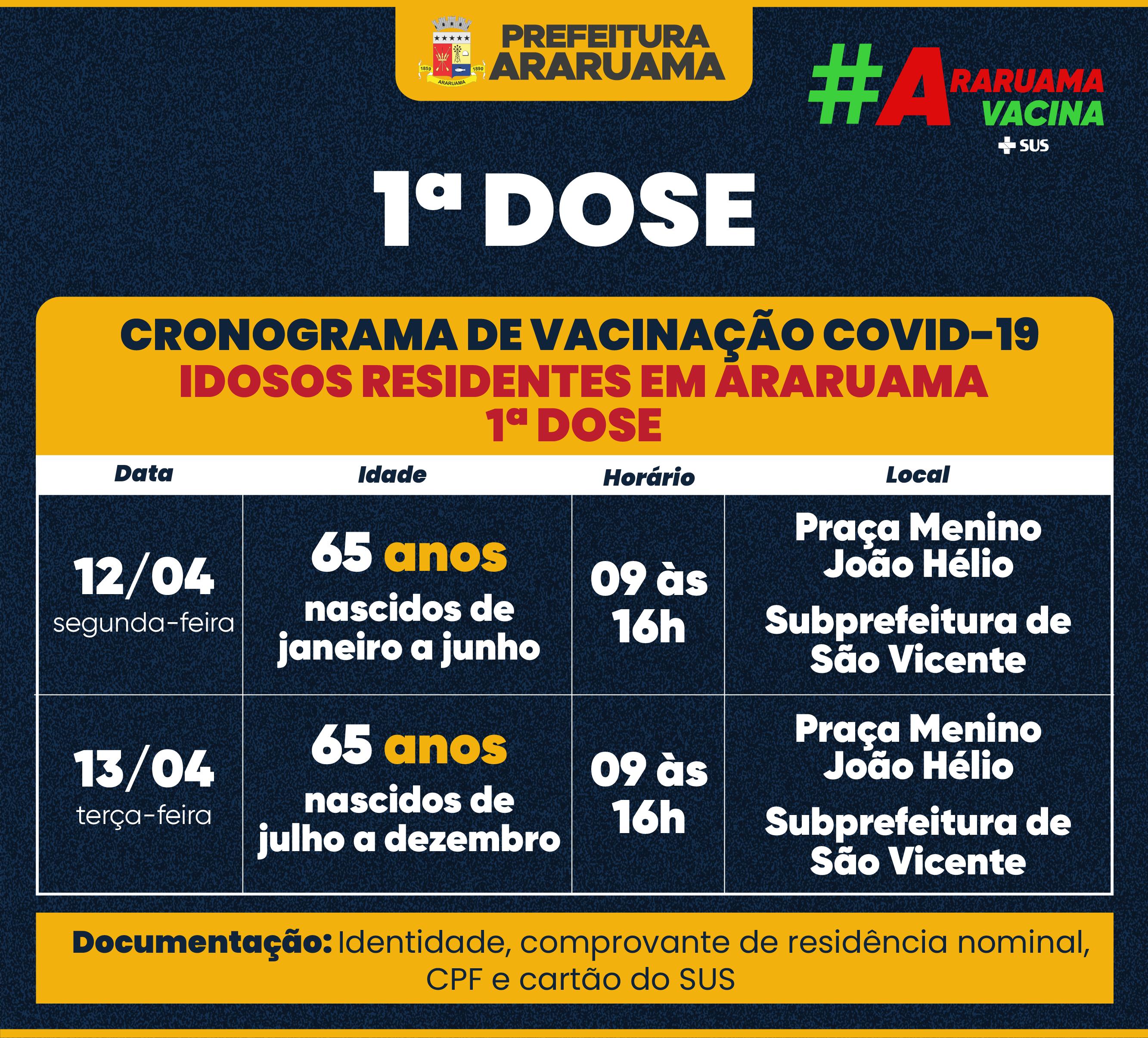 Calendário de vacinação para idosos de 65 anos em Araruama