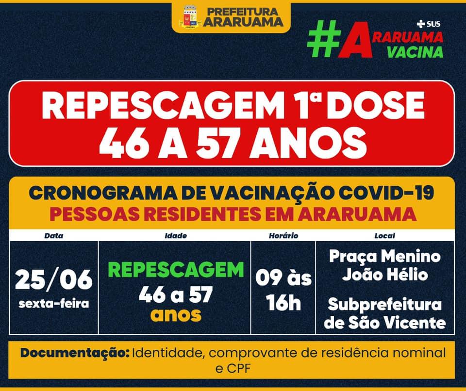 Araruama fará repescagem para vacinação contra covid-19 de 46 a 57 anos