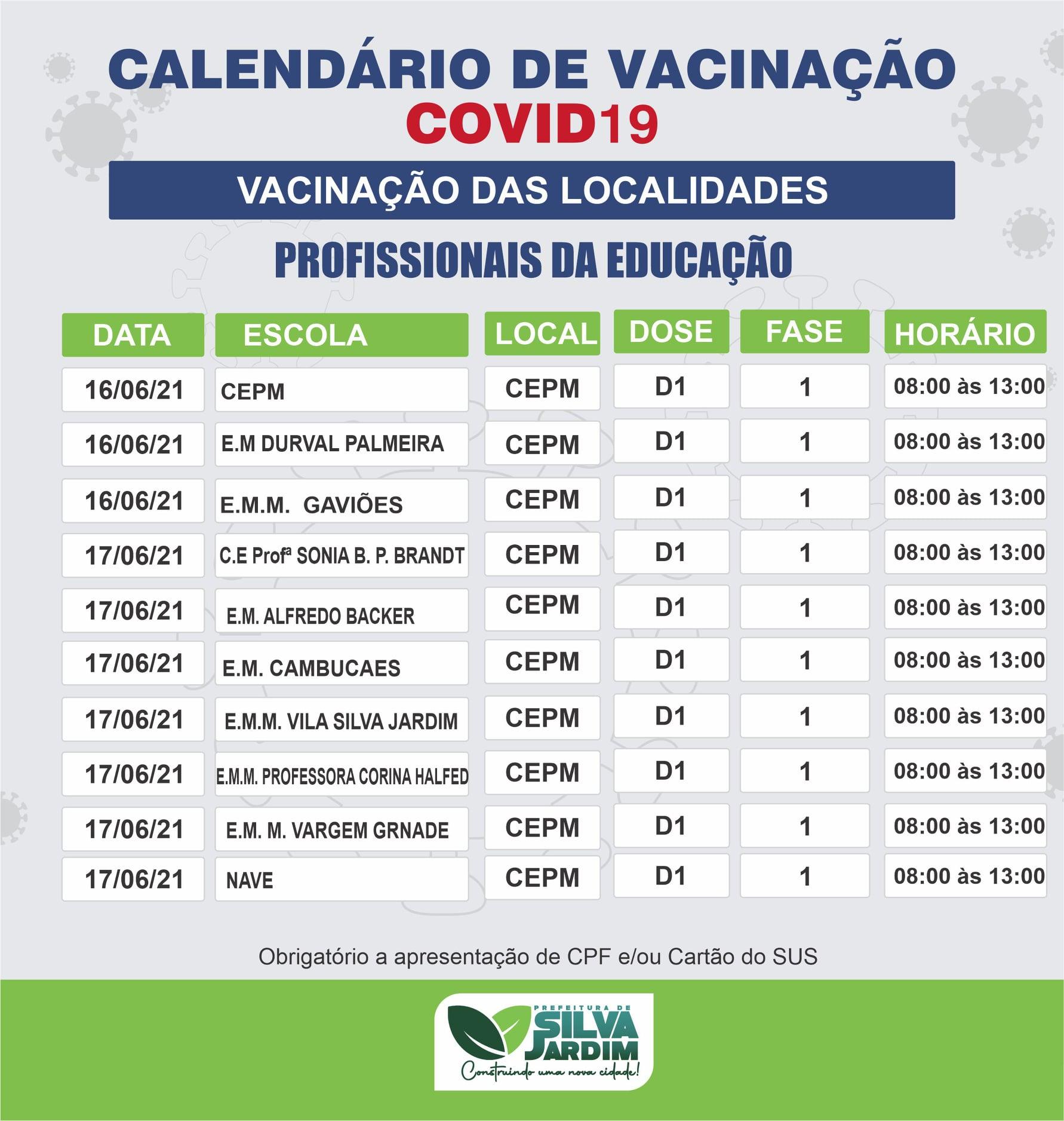 Profissionais da educação vacinados contra a covid-19 em Silva Jardim